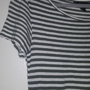 Forever 21 Olive Green and Grey Striped Dress